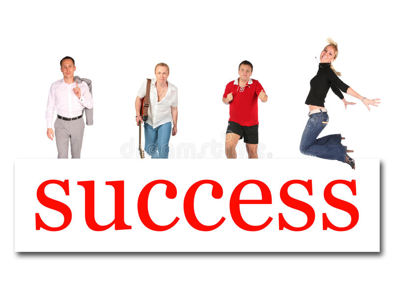 Povos moventes à colagem da placa da palavra do sucesso fotografia de stock