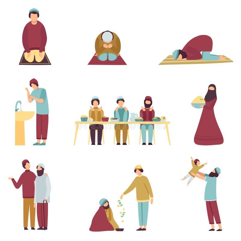 Povos muçulmanos na roupa tradicional que comemoram Eid Al Adha Islamic Holiday Set, homens que rezam, comendo, cumprimentando ca ilustração stock