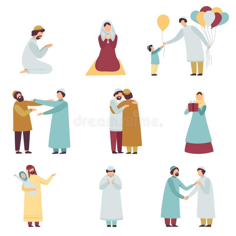 Povos muçulmanos na roupa tradicional que comemoram Eid Al Adha Islamic Holiday Set, os homens e as mulheres rezando, cumprimenta ilustração royalty free