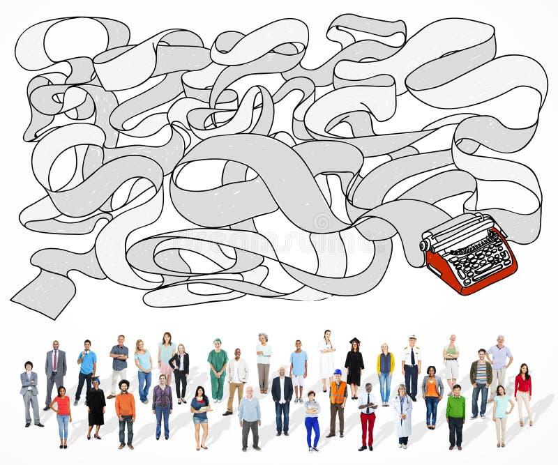 Povos multi-étnicos com trabalhos diferentes ilustração do vetor
