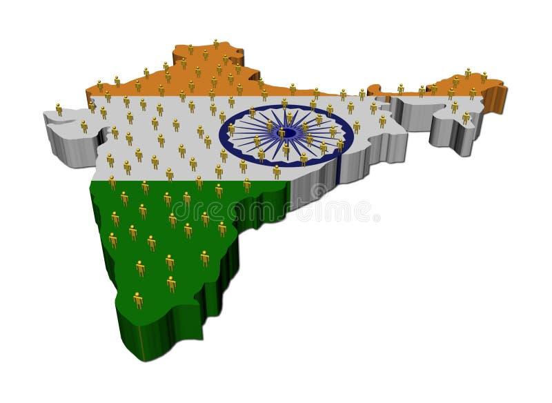 Povos na bandeira do mapa de India ilustração royalty free