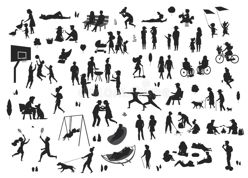 Povos na coleção das silhuetas das cenas do parque ilustração stock