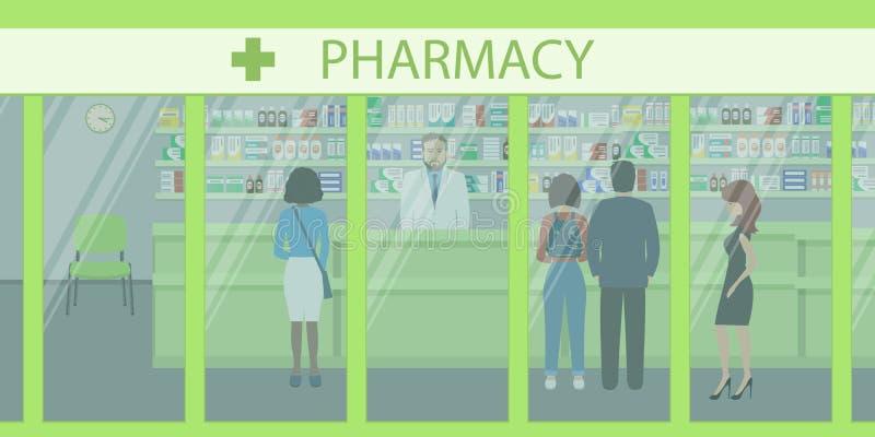Povos na farmácia Vista da rua ilustração do vetor