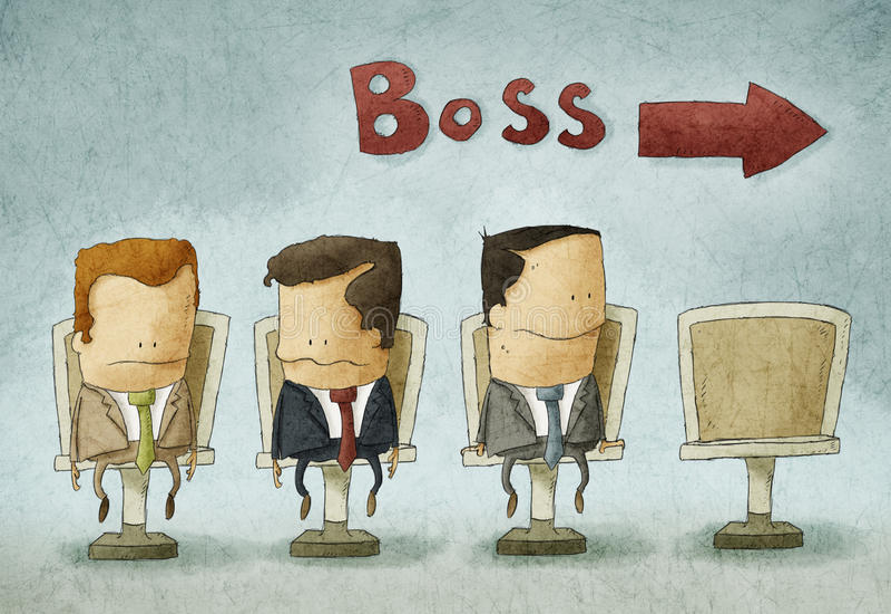 Povos na fila ao chefe ilustração stock