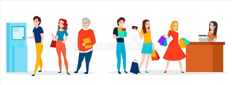 Povos na fila Vetor ilustração stock