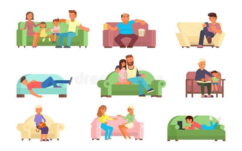 Povos na ilustração lisa do estilo do vetor do sofá ilustração royalty free