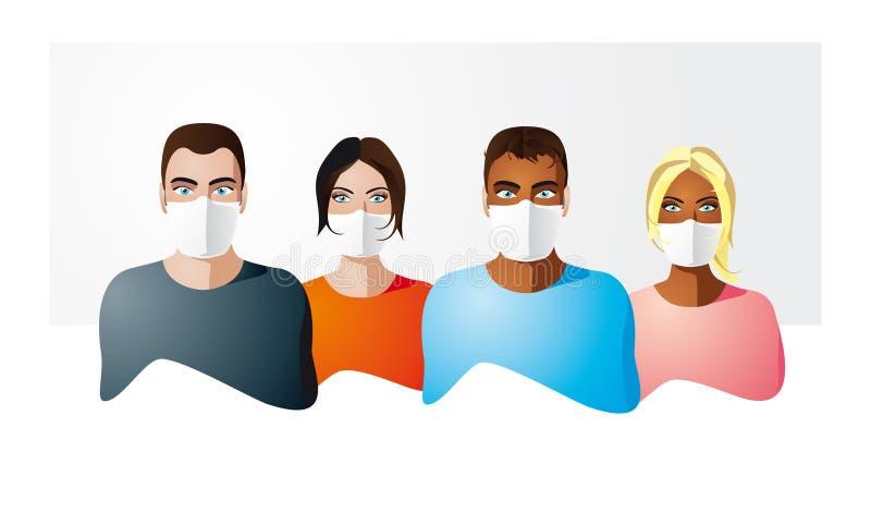 Povos na máscara da proteção ilustração stock