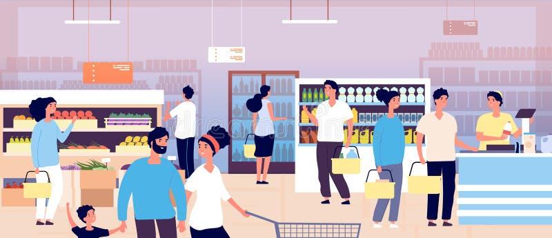 Povos na mercearia Clientes que compram o alimento no supermercado Clientes de compra que escolhem produtos Vetor da consumição ilustração royalty free