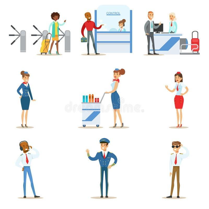 Povos na passagem interior do aeroporto com o registro do voo e o controle de passaporte, e serviço aéreo ilustração do vetor