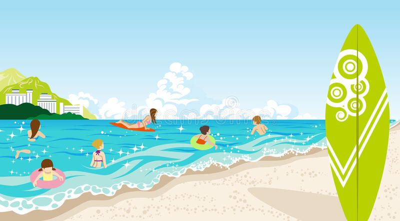 Povos na praia do verão ilustração stock