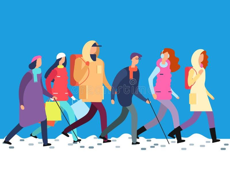 Povos na roupa do inverno Homem dos desenhos animados e mulher, adolescentes que andam na estação fria ilustração royalty free