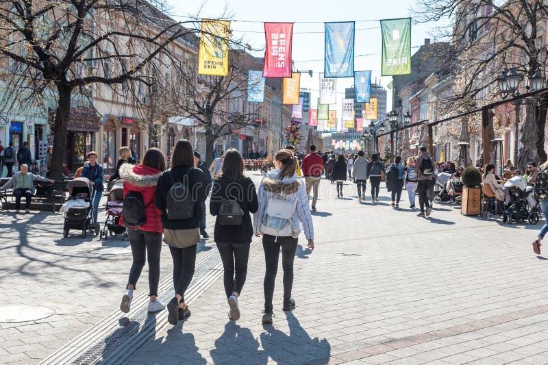 Povos na rua do centro da cidade da Sérvia de Novi Sad no dia ensolarado que andam e que apreciam no tempo agradável foto de stock