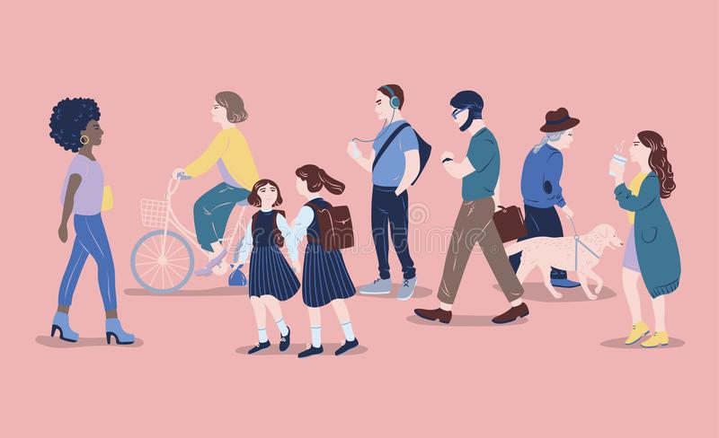 Povos na rua Os homens e as mulheres da idade diferente que passam perto, andando, estando, bicicleta de montada, escutam a músic ilustração royalty free