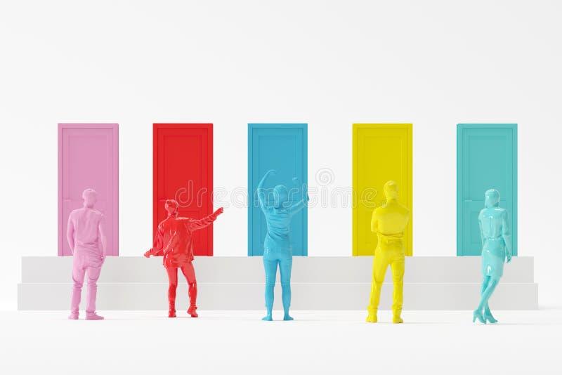Povos nas cores diferentes que estão na frente das portas coloridas no fundo branco ilustração stock