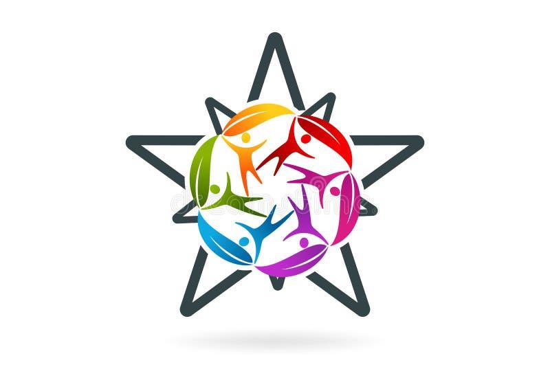 Povos, natural, estrela, trabalho da equipe, social, fazendeiro, Botânica, símbolo do negócio, e projeto do logotipo ilustração stock