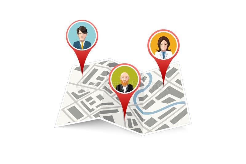 Povos no ícone do lugar dos gps do mapa isolado ilustração do vetor