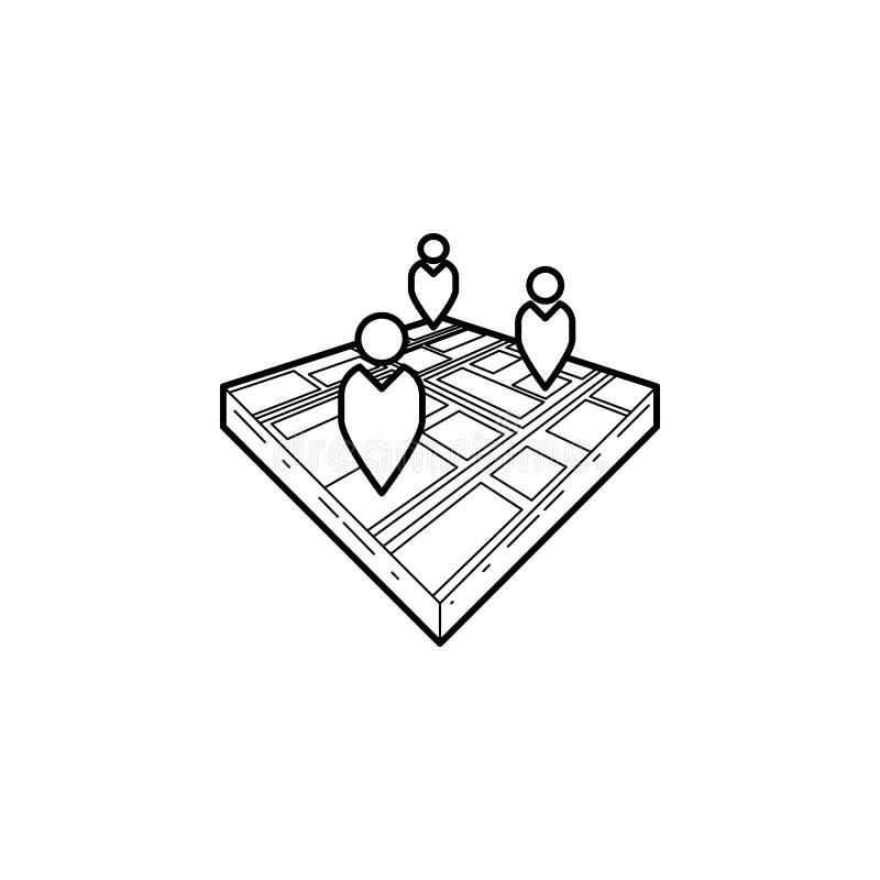 povos no ícone do mapa 3d Elemento da ilustração da navegação Ícone superior do projeto gráfico da qualidade Sinais e ícone da co ilustração royalty free