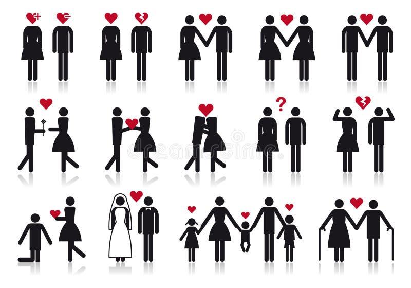 Povos no amor, jogo do ícone do vetor ilustração do vetor