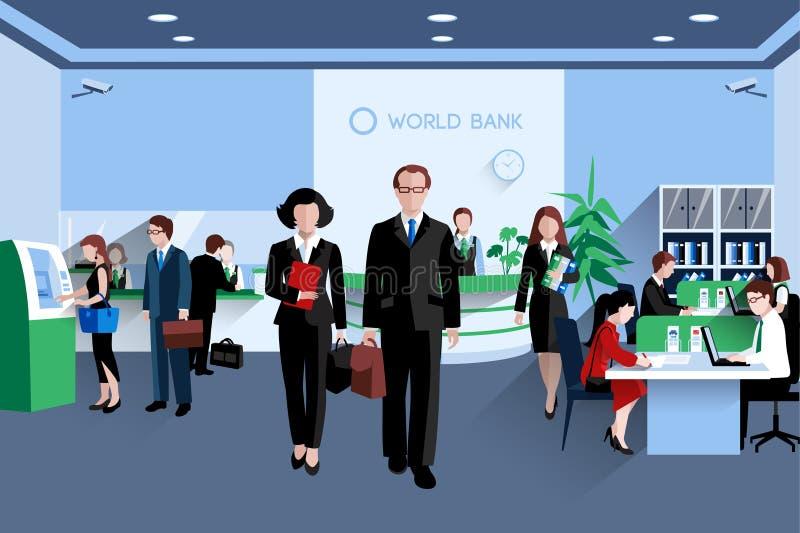 Povos no banco ilustração do vetor