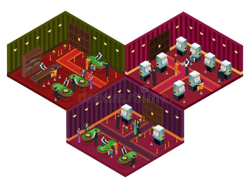 Povos no conceito isométrico do casino ilustração royalty free