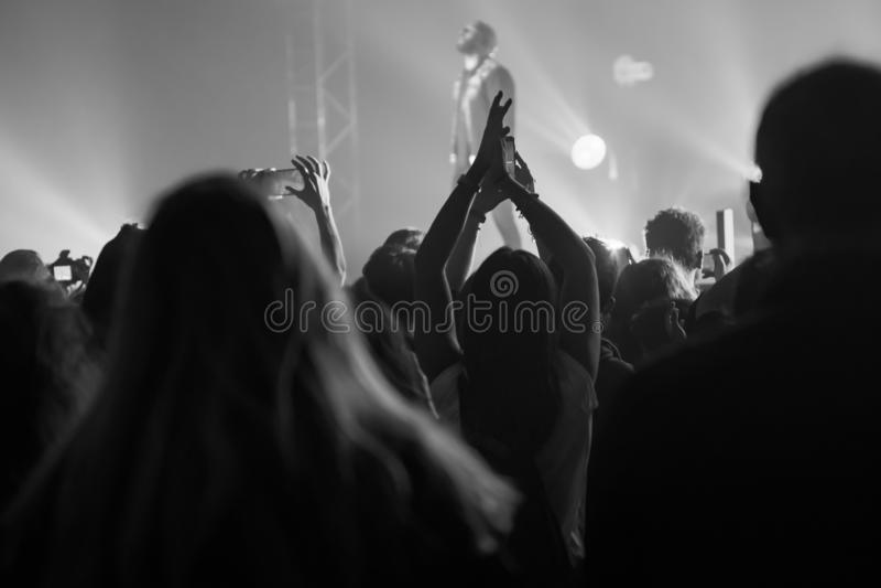 Povos no concerto da música ao vivo fotos de stock