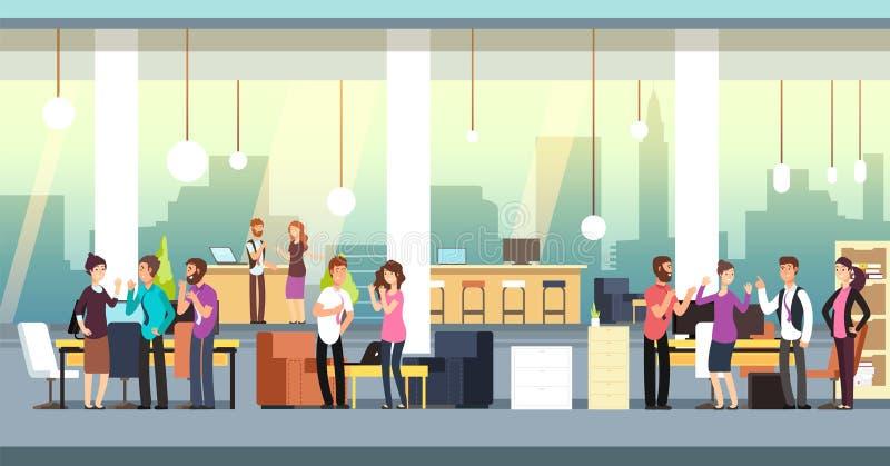Povos no escritório coworking Colegas de trabalho criativos no vestuário desportivo no interior do espaço aberto Ilustração do ve ilustração do vetor