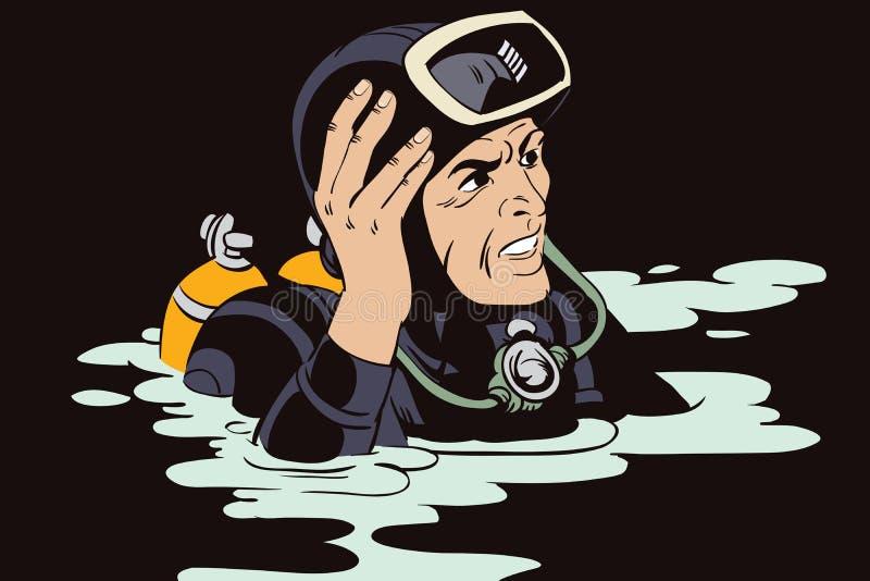 Povos no estilo retro mergulhador ilustração stock