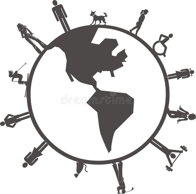 Povos no globo ilustração do vetor