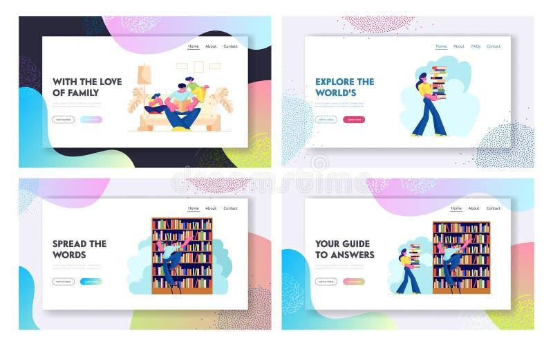 Povos no grupo da página da aterrissagem da biblioteca, caráteres que leem e que procuram livros Educação, conhecimentos, pesquis ilustração stock