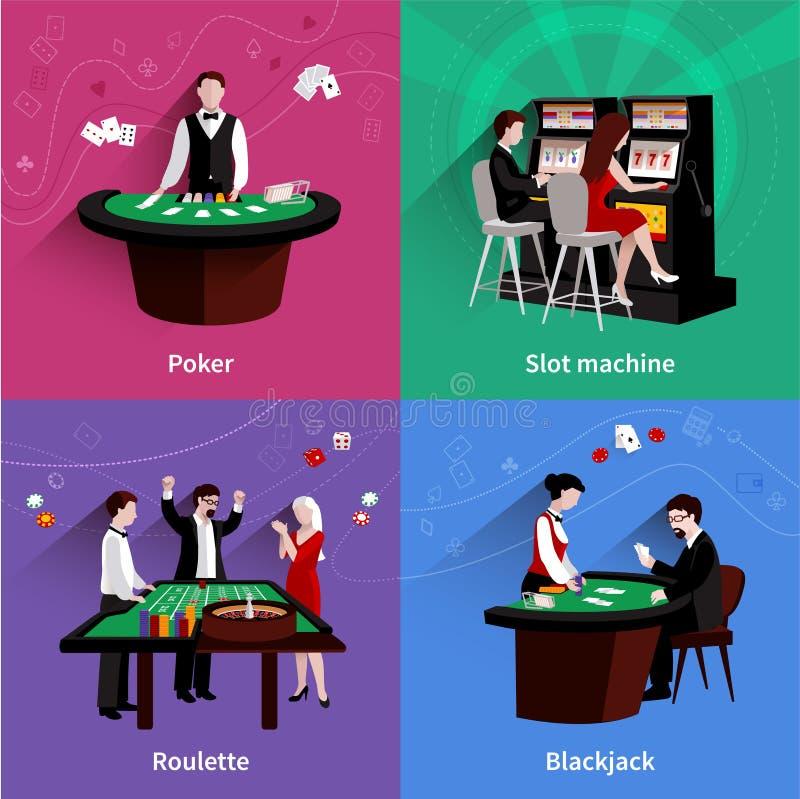 Povos no grupo do casino ilustração do vetor