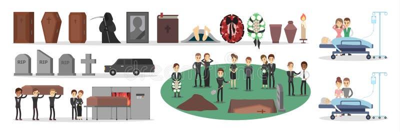 Povos no grupo do funeral ilustração stock
