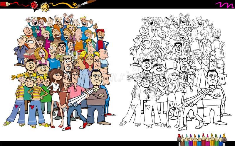 Povos no livro para colorir da multidão ilustração stock