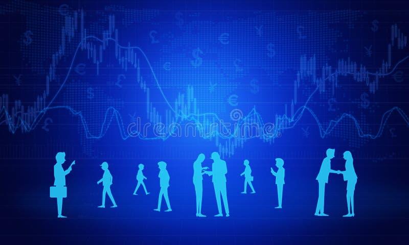 Povos no negócio do trabalho no fundo do gráfico imagens de stock