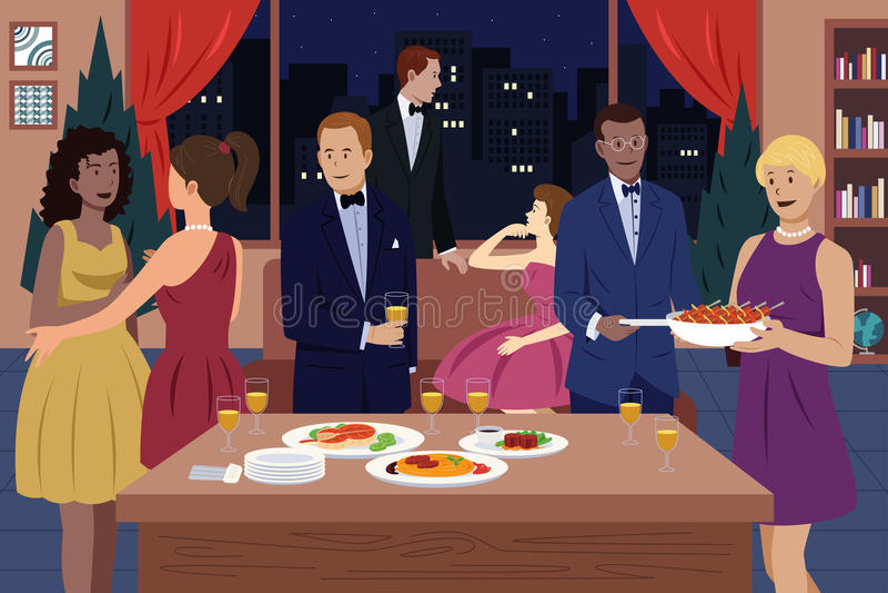 Povos no partido de jantar ilustração do vetor