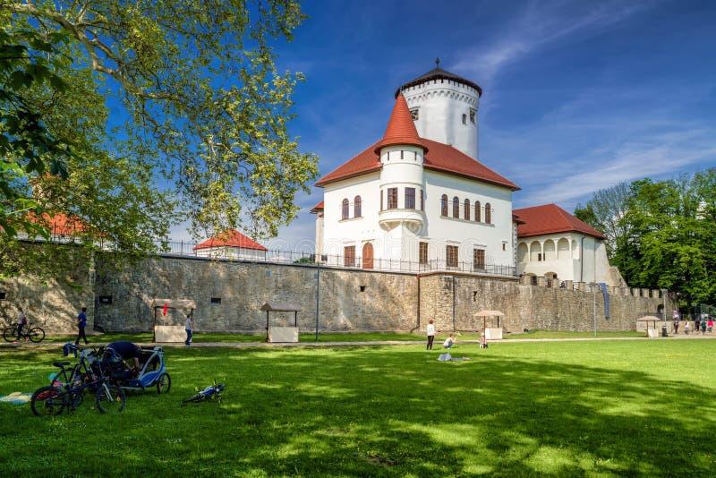 Povos no poark na frente do castelo de Budatin em Zilina, Eslováquia imagem de stock