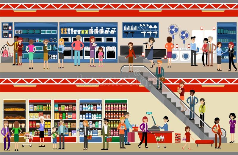 Povos no shopping da alameda supermarket Equipamento e eletrônica ilustração do vetor