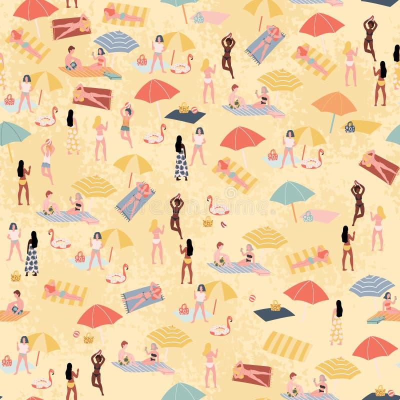 Povos no teste padrão sem emenda da praia do verão Ilustra??o tirada m?o do estilo da garatuja ilustração do vetor