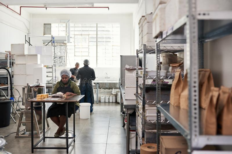 Povos no trabalho junto em uma fábrica artisanal da fatura de chocolate imagem de stock