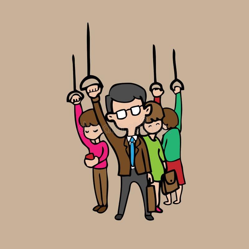 Povos no trem do transporte público ilustração do vetor