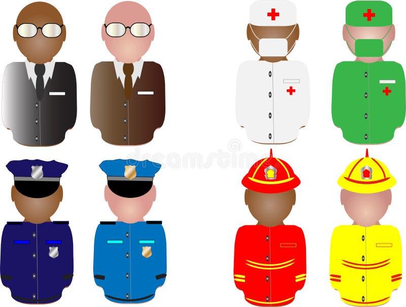 Povos no uniforme de trabalho ilustração stock