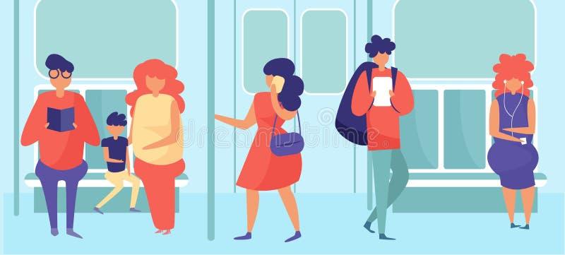 Povos no vetor do metro cartoon Plano isolado da arte ilustração do vetor