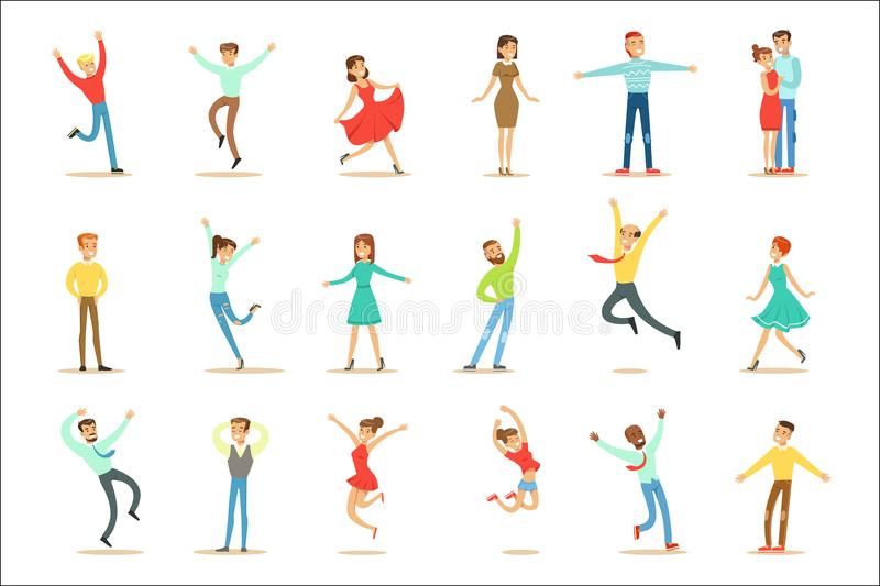 Povos oprimidos da felicidade e do grupo alegremente ectático de personagens de banda desenhada de sorriso felizes ilustração royalty free