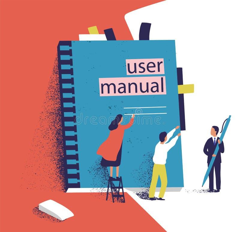 Povos ou gerentes minúsculos que tentam abrir o manual gigante do usuário Homens e mulheres pequenas e grande guia do software in ilustração stock