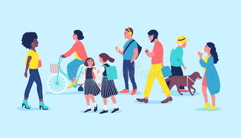 Povos ou transeuntes na rua Os homens, as mulheres e as crianças passando perto, andando, bicicleta da equitação, escutam a músic ilustração stock