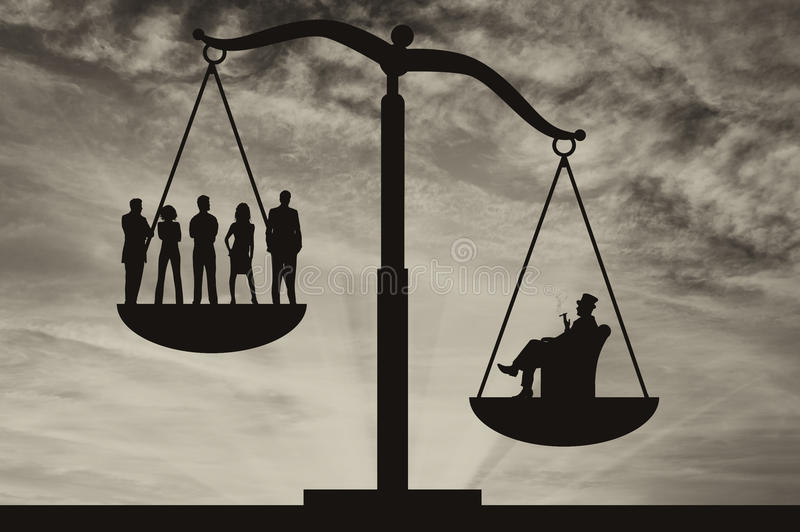 Povos pobres e homem de negócios rico em escalas ilustração do vetor