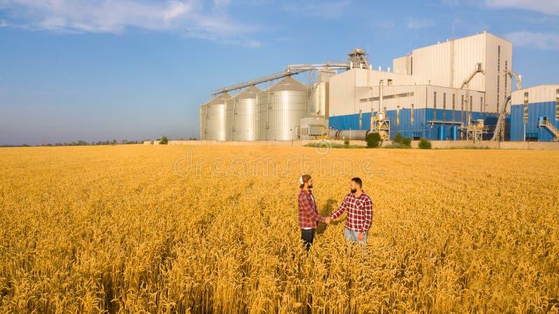 Povos que agitam as mãos em um campo de trigo, acordo do ` s do fazendeiro Terminal do elevador de grão no fundo Agrônomo da agri foto de stock royalty free