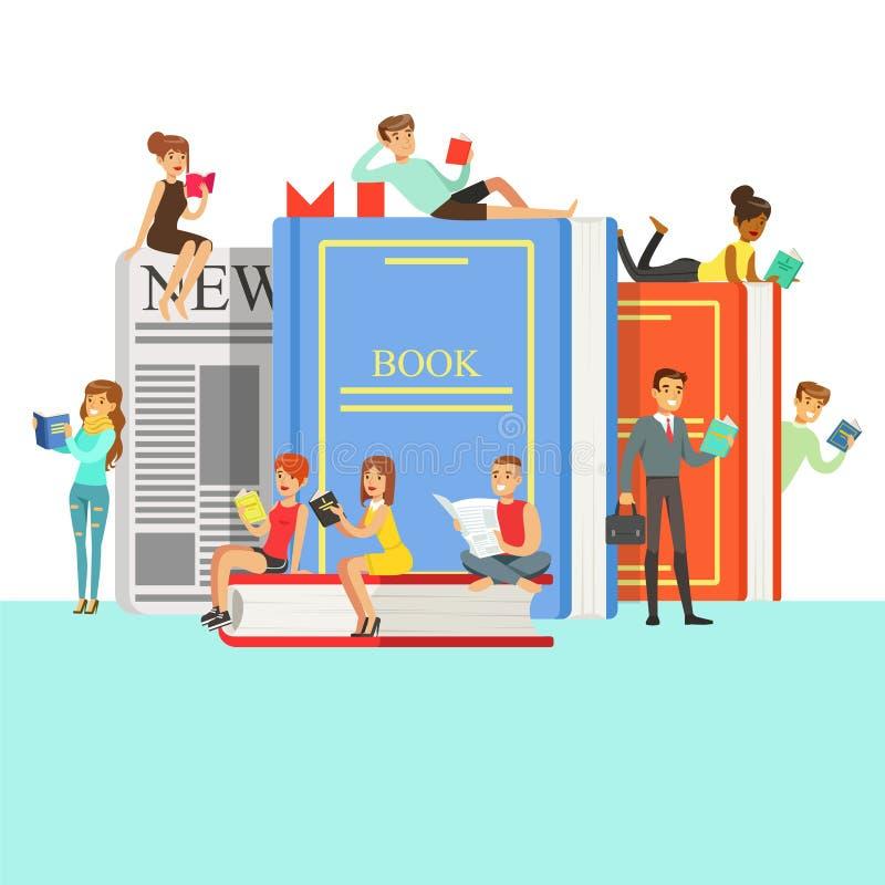 Povos que amam ler livros de leitura em torno dos livros gigantes com tampa e o jornal duros ilustração do vetor