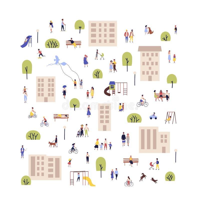 Povos que andam com crianças ou cães, bicicletas de montada, sentando-se no banco em subúrbios ou em subúrbios da cidade Homens e ilustração do vetor