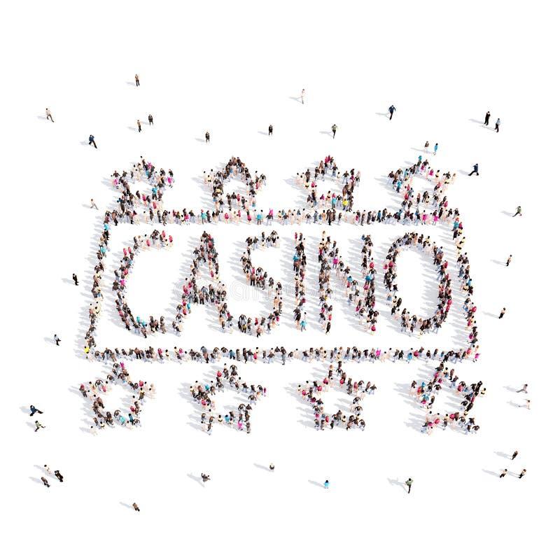 Povos que andam em um casino rendição 3d ilustração royalty free