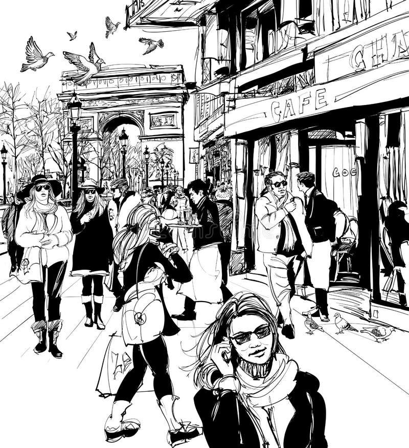 Povos que andam na avenida de Champs-Elysees em Paris ilustração royalty free